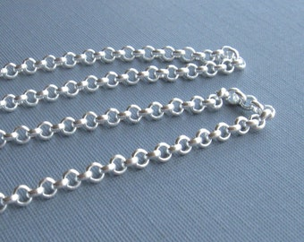 Silver plate over brass medium rolo chain 3ft 3mm links