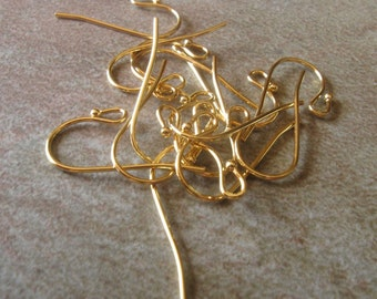 Gold plated brass ball earwires 15 pair 2cm long