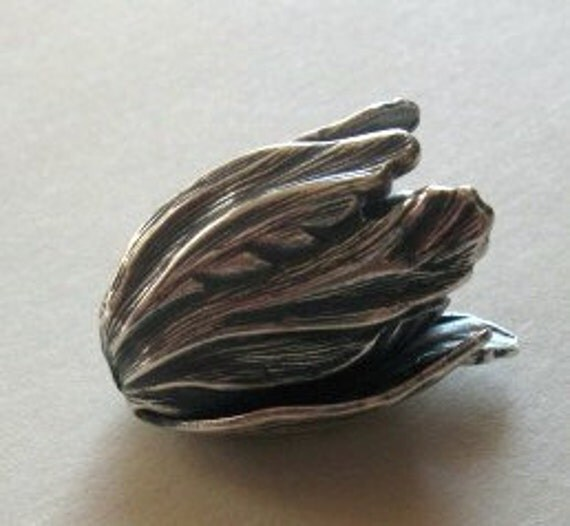 2 Silver plated brass tulip large bead caps 15x22mm
