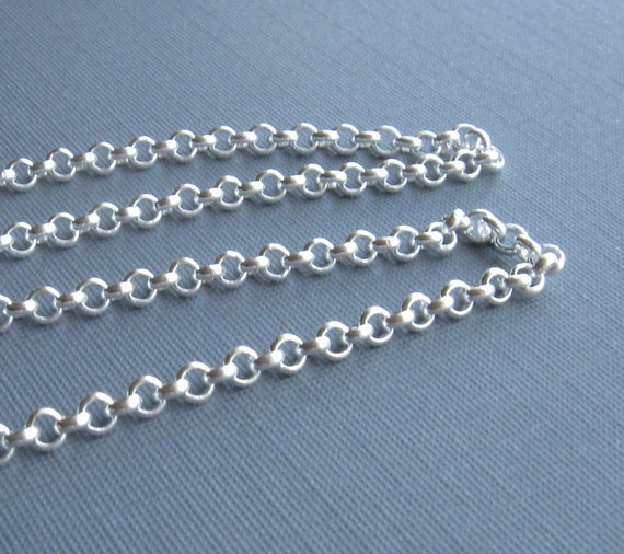 Silver plate over brass medium rolo chain 6ft 3mm links