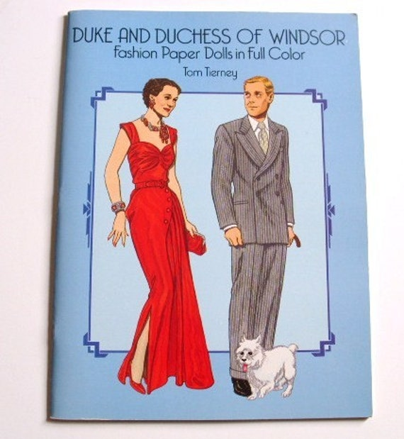 Sale-was 10.00, now 7.50, Duke and Duchess of Windsor vintage paper dolls book,  1988