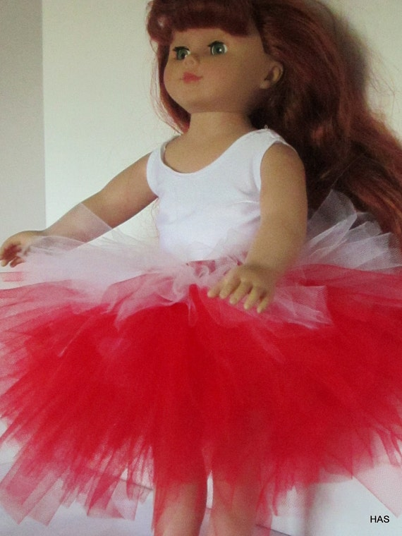 Red and White Tutu and leotard for American gir or other 18 inch doll