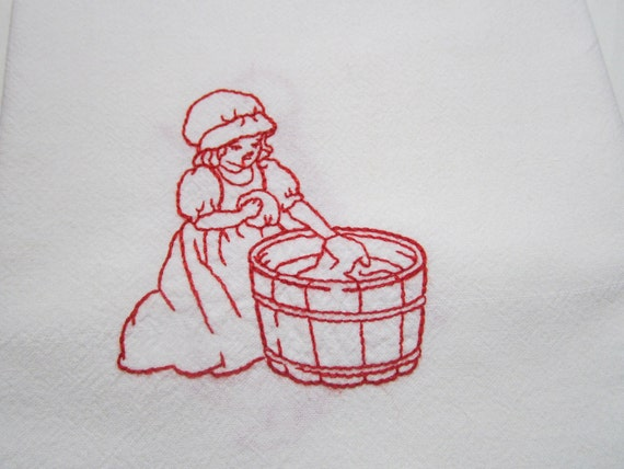 Redwork Embroidery Flour Sack Towels