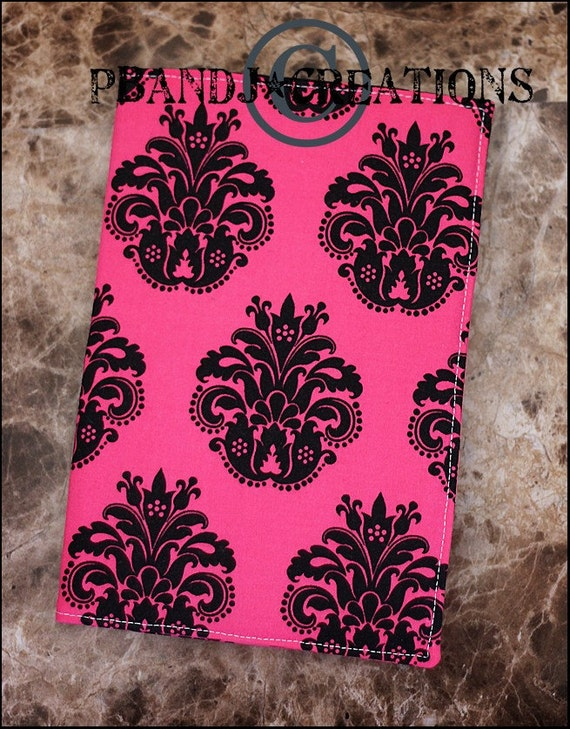 Boutique Handmade Hot Pink Black Damask Portfolio Notebook Cover