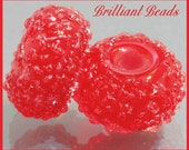 Red Sugared Glass Bead Pair - Handmade Lampwork Beads SRA, Made To Order
