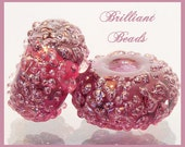 Amethyst Purple Sugared Glass Bead Pair - Handmade Lampwork Beads SRA, Made To Order
