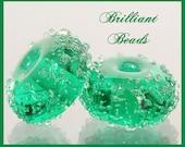 Emerald Green Sugared Glass Bead Pair - Handmade Lampwork Beads SRA, Made To Order