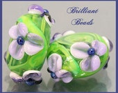 Purple & Green Floral Glass Bead Pair...Handmade Lampwork Beads SRA, Made To Order