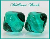 Transparent Teal Green Bicone Glass Beads - Handmade Lampwork Bead Pair SRA, Made To Order