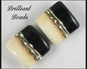 Ebony Black and Ivory...Matched Handmade Lampwork Glass Bead Pair SRA, Made To Order