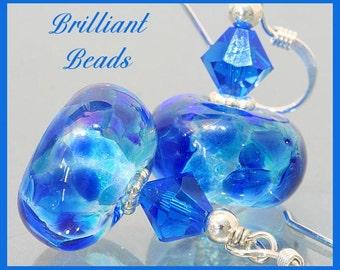 Brilliant Blue & Sterling Silver Lampwork Bead Earrings SRAJD