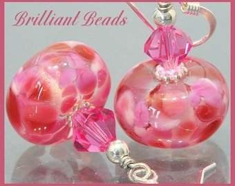 Rose Pink & Sterling Silver Handmade Lampwork Bead Earrings, Made To Order, SRAJD