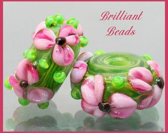 Pink & Green Floral Glass Bead Pair...Handmade Lampwork Beads SRA, Made To Order