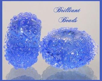 Ocean Blue Sugared Glass Bead Pair - Handmade Lampwork Beads SRA, Made To Order