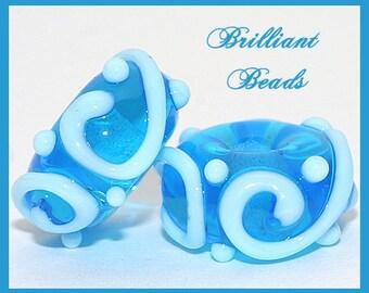 Aquamarine Blue Scrollwork Glass Beads- Handmade Lampwork Pair SRA, Made To Order