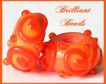 Sunny Mango Coral Scrollwork Glass Bead Pair- Handmade Lampwork Beads SRA, Made To Order