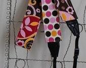 Camera Strap- Sherbet Floral and Big Dot Reversable