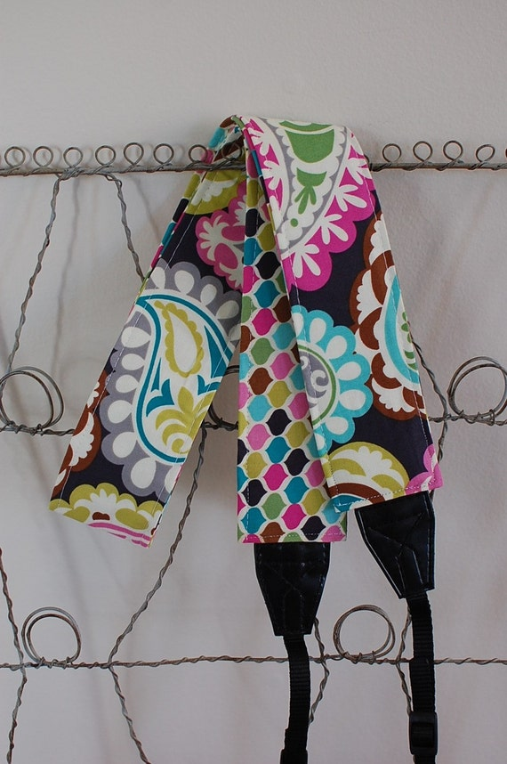 Camera Strap- Carnival Paisley and Carnival Tiles reversible NEW PATTERN