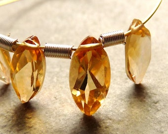 SALE - AAA Citrine Marquise Briolette Drops - 8mm - Matched Pair