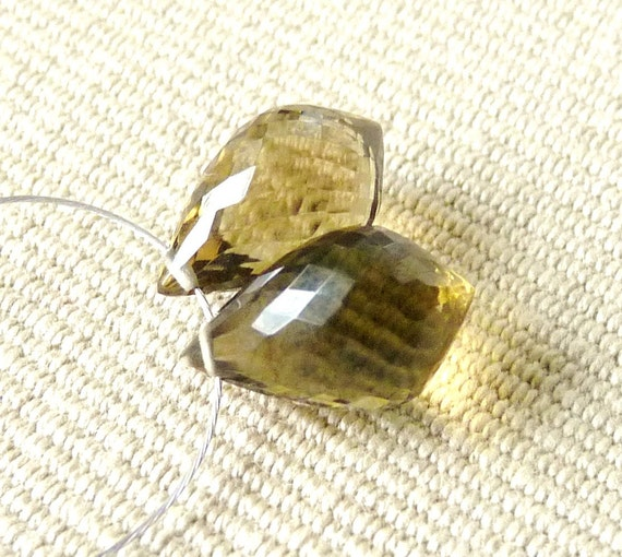 AAA Olive Quartz Faceted Chandelier Briolettes - 11mm - Matched Pair