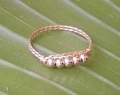 Five Sleek Little Gold Beads Wirewrapped Ring, sz 7