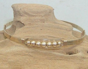 Five Little Gold Beads Wire-Wrapped Bracelet