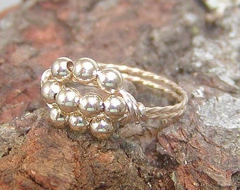 Ten Little Gold Beads Wire-Wrapped Ring, sz 6