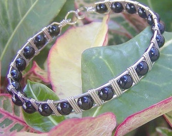 Sleek Black Onyx Sterling Silver Wire-Wrapped Bracelet