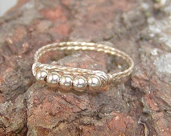 Five Little Gold Beads Wire-Wrapped Ring, sz 8