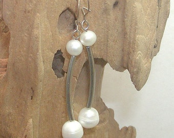 SALE Pearl and Silver Curved Barbell Dangle Earrings