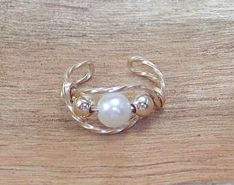 Dainty Ear Cuff Freshwater Pearl in Gold Twist Wire