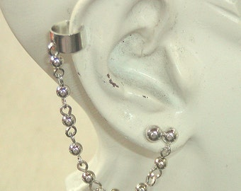 Sexy Silver Ear Cuff with Bead Chain and Post Earring