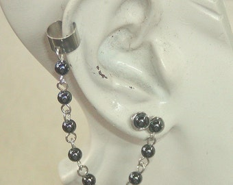 EAR CUFF with Bead Chain and Post Earring, Hematite and Silver