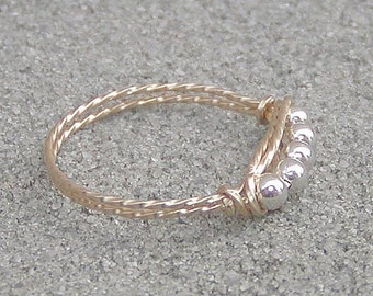 Two-Tone Silver Beads, Gold Wire Ring, sz 4-1/2