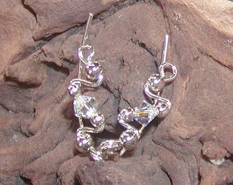 Ear Sweeps - Ear Climbers - Twinkling Swarovski Crystal Small Sterling Ear Sweeps - Silver Ear Sweeps - Crystal Ear Sweeps - Non Pierced