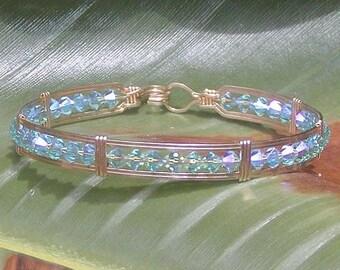 Glittery Aqua 2X Swarovski Crystal Wire-Wrapped Bracelet