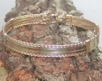 Classy 10 Strand Gold Wire-Wrapped Bracelet