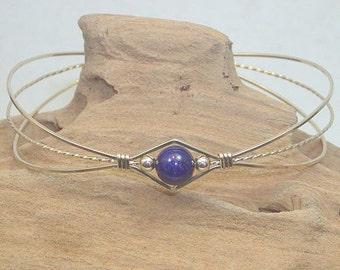 Sweet and Feminine Genuine Lapis Wire-Wrapped Bracelet