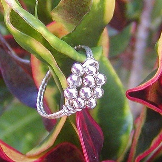 Ten Little Silver Beads Wire-Wrapped Ring, sz 5.5