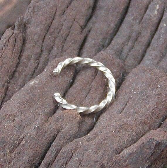 Ear Cuff - Thin Ear Cuff - Thin, Dainty Sterling Silver Twist Wire Ear Cuff - Faux Piercing - Ear Band - Ear Wrap - Silver Ear Cuff