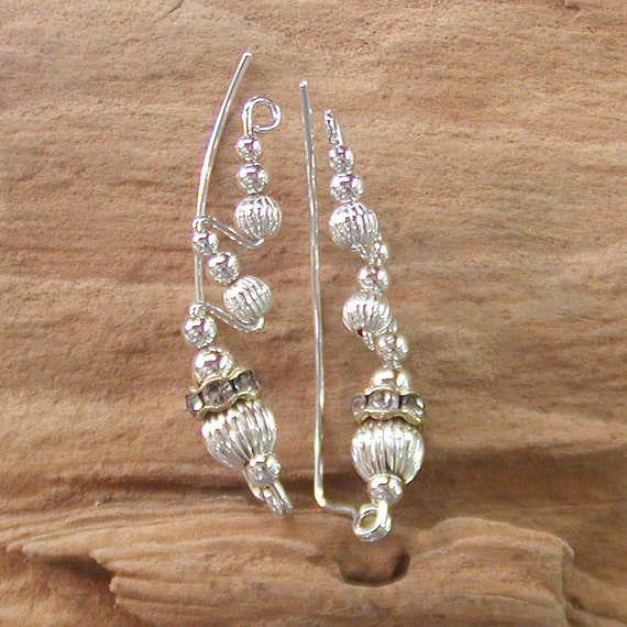 Fancy Ear Sweeps with Sterling Silver Fluted Beads
