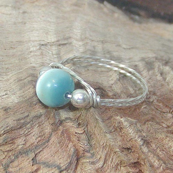 CLOSE-OUT Caribbean Blue Cat's Eye Bead Silver Wire Ring, sz 7