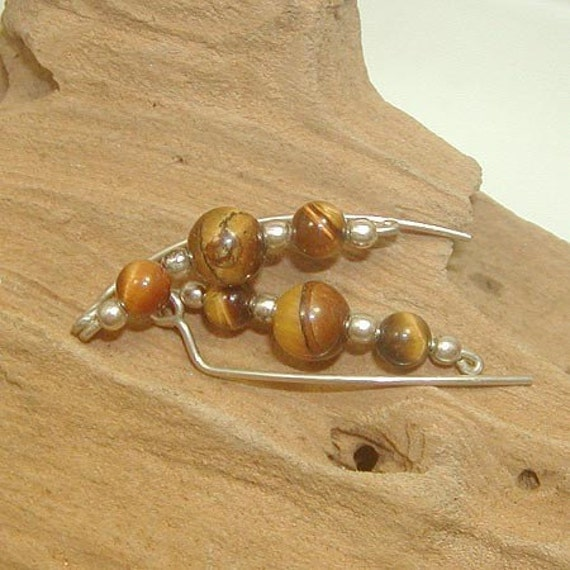 Earthy Tiger Eye Beads and Sterling Silver Ear Sweeps