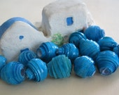 Eco Paper Beads Turquoise Blue  Hand Rolled