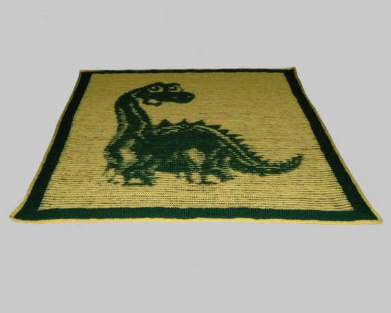 Dinosaur Baby Blanket - Illusion Knit - PDF pattern
