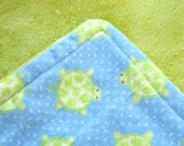 Organic Bamboo Velour Blanket - Travel / Lap Size 22 x 22 inches - Tiny Turtles - REDUCED