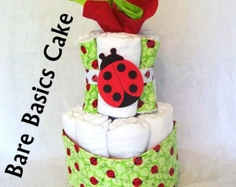 CLOTH Diaper Cake - Prefold Diaper Cake - Bare Basics - Ecofriendly Baby Shower - Natural Baby Gift - Custom Diaper Cake - Baby Shower Decor