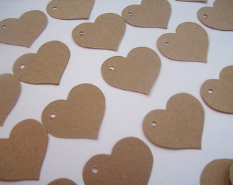 Heart Tags, Gift Tags, Set of 50, Wedding Favor, Tags