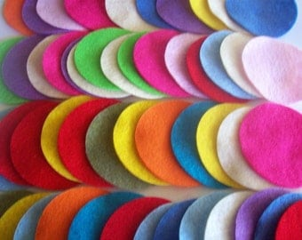 Felt circles , set of 50 variety of colors and sizes 1, 1.5, 2, 2.5, 3 or 4 inches