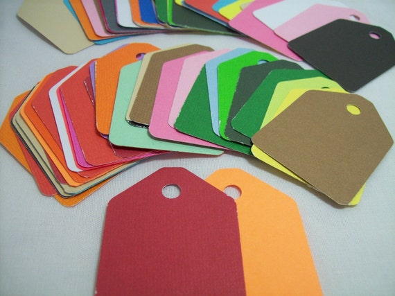 gift tags, assorted colors, earring cards, price tags